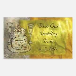 Golden Wedding Celebration Rectangular Sticker
