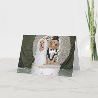 Golden Wedding Couple Atop the Cake Card