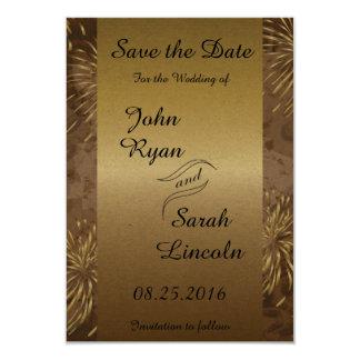 Golden Wedding Fireworks 3.5x5 Paper Invitation Card
