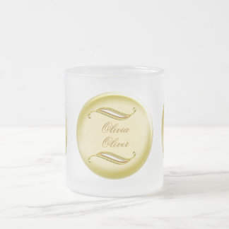 Golden Wedding Frosted Glass Coffee Mug