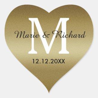 Golden Wedding Monogram Seals heart Stickers