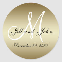 Golden Wedding Monogram Seals Sticker