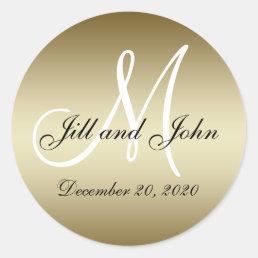 Golden Wedding Monogram Seals Sticker