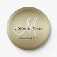 Golden Wedding Paper Plates | Monogram