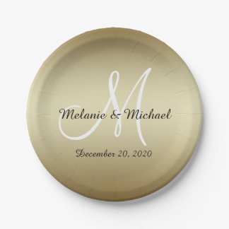 Golden Wedding Paper Plates | Monogram 7 Inch Paper Plate