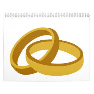 Golden Wedding rings Wall Calendar