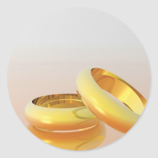 Golden Wedding Rings Classic Round Sticker