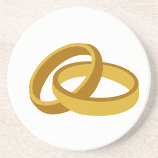 Golden Wedding rings Drink Coaster