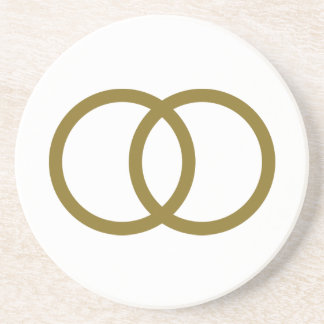 Golden wedding rings drink coasters