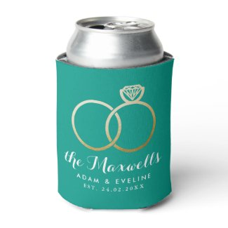 Golden Wedding Rings Favor Teal Green Can Cooler