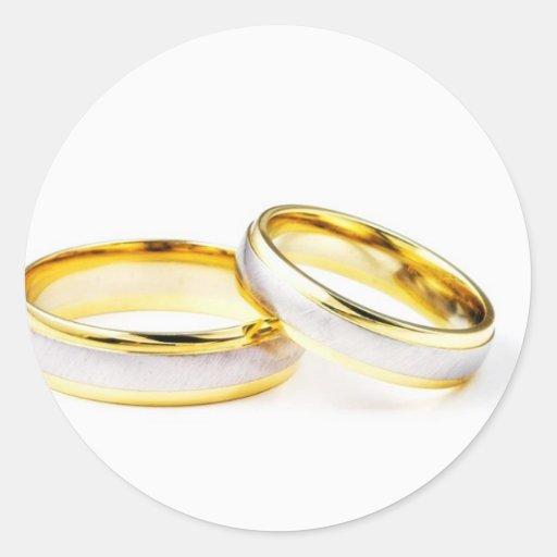 ... Wedding Rings On White Background Classic Round Sticker   Zazzle