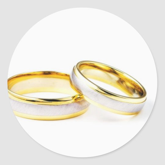 Golden Wedding Rings On White Background Classic Round Sticker