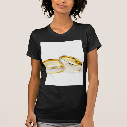 Golden Wedding Rings On White Background Shirts