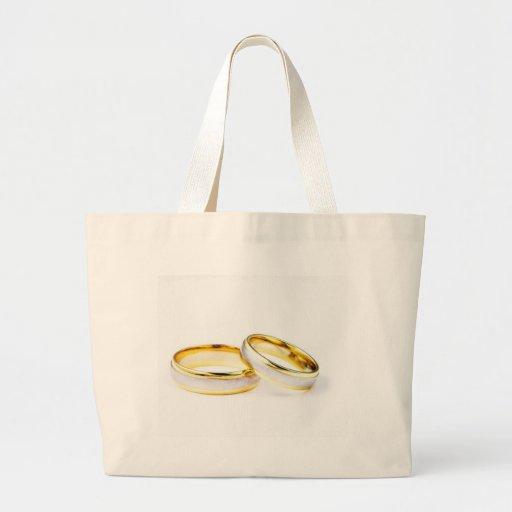 Golden Wedding Rings On White Background Tote Bag