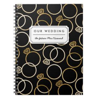 Golden Wedding Rings Patterned Custom Text Notebook