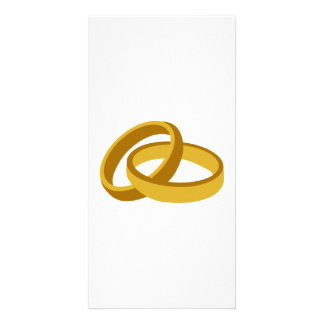 Golden Wedding rings Photo Card Template