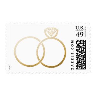 Golden Wedding Rings Postage Stamp