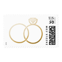 Golden Wedding Rings Postage Stamp
