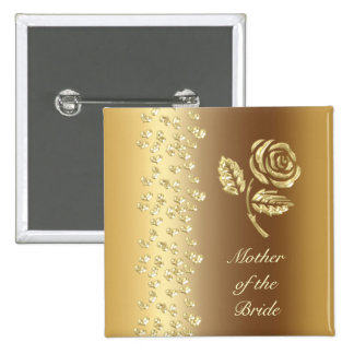 Golden Wedding rose and hearts name Button