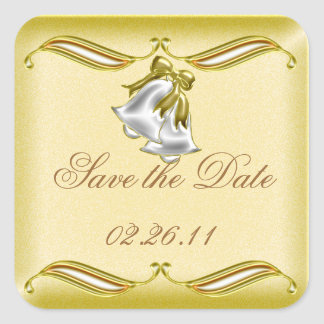 Golden Wedding Square Sticker