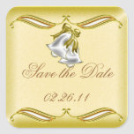 Golden Wedding Square Stickers