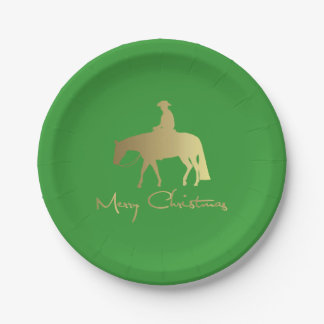 Golden Western Pleasure Horse Christmas 7 Inch Paper Plate