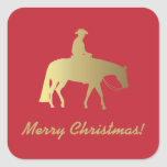 Golden Western Pleasure Horse Christmas Square Sticker