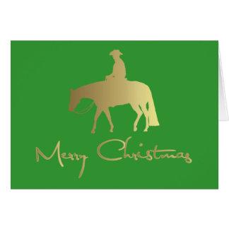 Golden Western Pleasure Horse Green Christmas Card