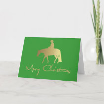 Golden Western Pleasure Horse Green Christmas Holiday Card