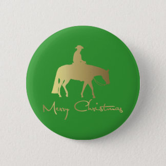 Golden Western Pleasure Horse Green Christmas Pinback Button