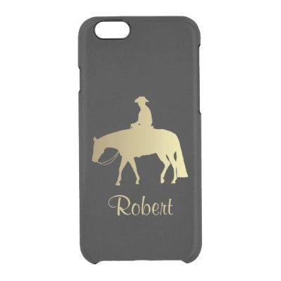 Golden Western Pleasure Horse on Black Clear iPhone 6/6S Case