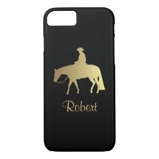 Golden Western Pleasure Horse on Black iPhone 8/7 Case