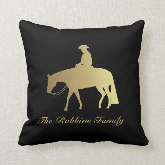 Golden Western Pleasure Horse on Black Throw Pillow