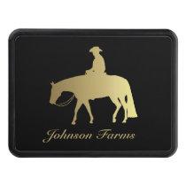 Golden Western Pleasure Horse on Black Trailer Hitch Cover