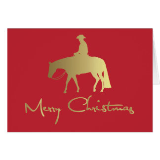 Golden Western Pleasure Horse Red Christmas Greeting Card