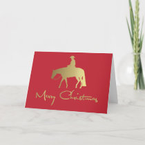 Golden Western Pleasure Horse Red Christmas Holiday Card