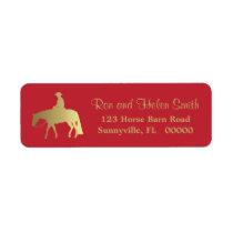 Golden Western Pleasure Horse Red Christmas Label