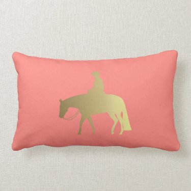 Golden Western Pleasure Horse Throw Pillows
