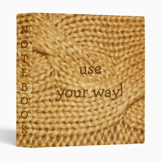 Golden Wheat Cable Knit PRINT Notebook Binder