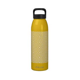 Golden White Diamond Pattern Designer Reusable Water Bottle
