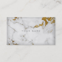 Golden White Gray Marble Vip Business Card