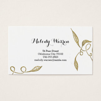 Golden - White Ornament Business Card