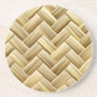 Golden Wicker Basket Weave Textured Drink Coasters