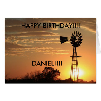 Golden Windmill Sunset BIRTHDAY CARD