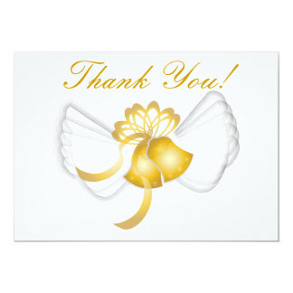 "Golden Winged Bells Thank You Card-Cust. 5"" X 7"" Invitation Card"