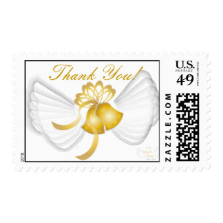 Golden Winged Bells Thank You Postage-Cust