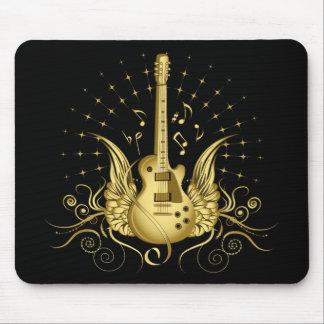 Golden Winged Guitar Mousepads