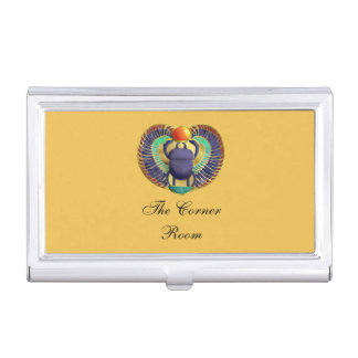 Golden Winged Scarab Business Card Holder