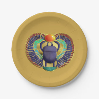 Golden Winged Scarab Paper Plate