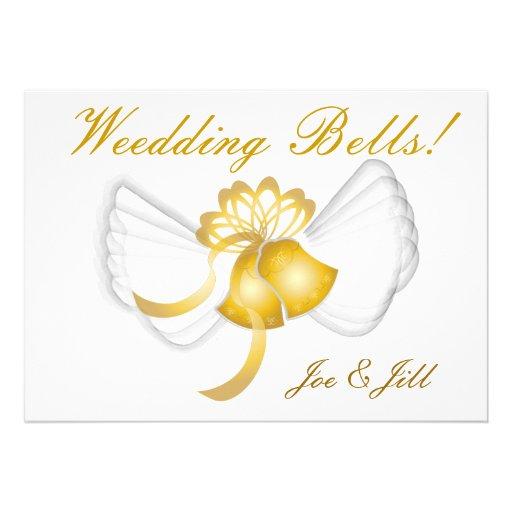 "Golden Winged Wedding Bells Card-Cust. 5"" X 7"" Invitation Card ..."